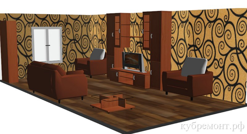 Проект гостиной - Дизайн интерьера 3D