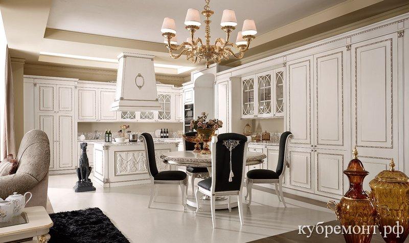Итальянская кухонная мебель с классическим белям фасадом