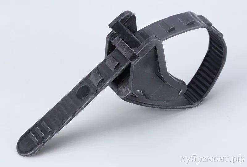 Хомут-стяжка крепления кабеля к тросу